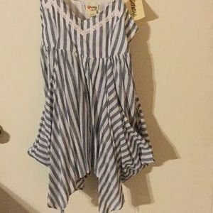 Summer top with white and jean color stripes